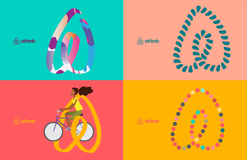 Four colourful Airbnb Illustrated Brand Mark