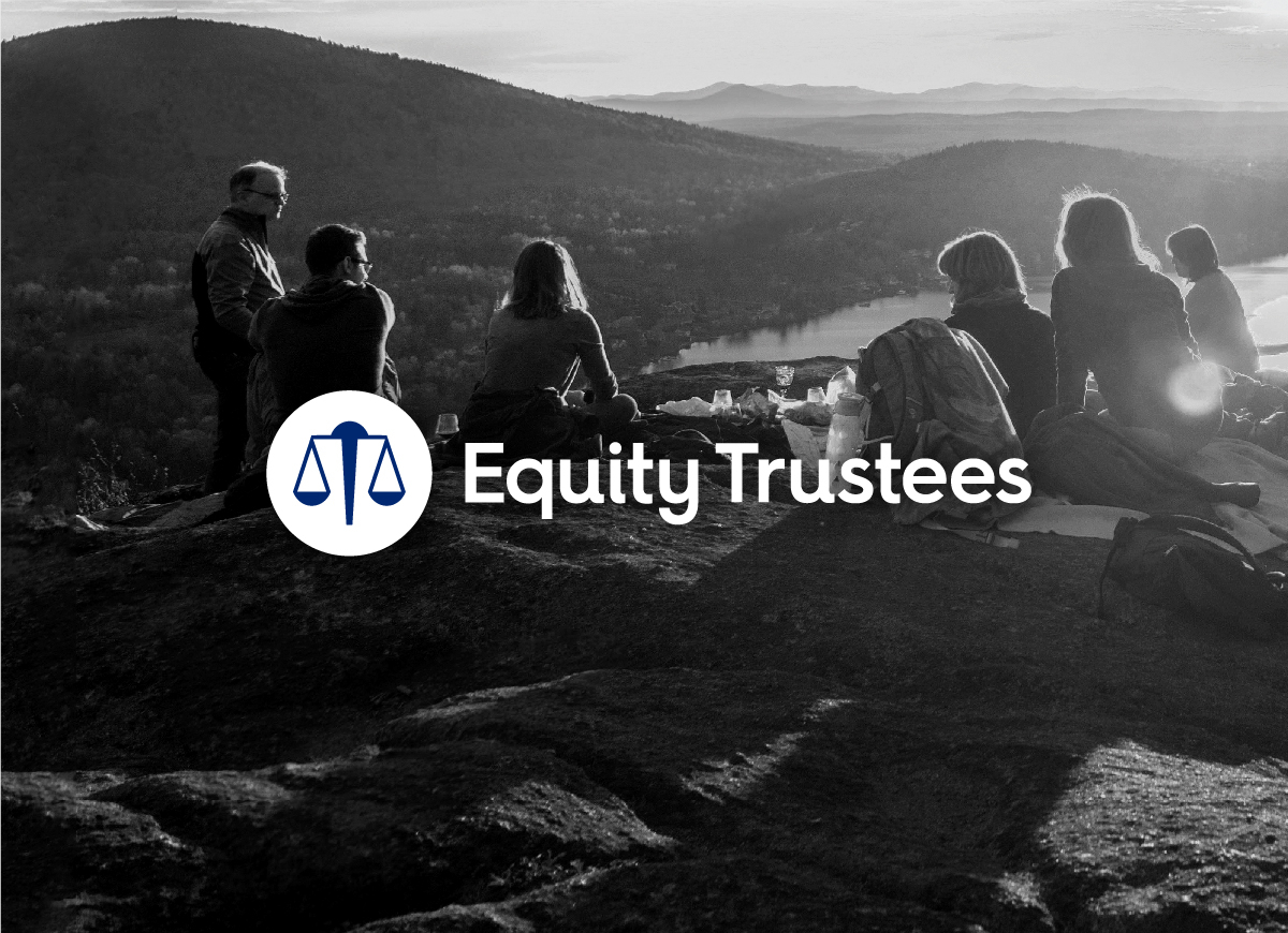 Equity Trustees - new brand mark reversed out of black and white image