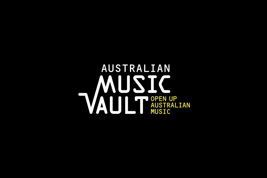 Australian Music Vault Brand Mark with Yellow Positioning line