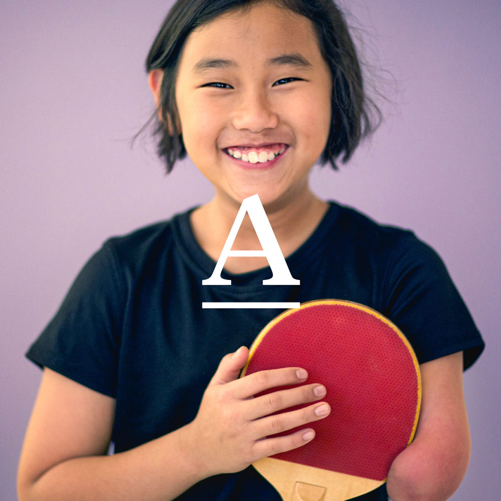 Averee brand identity icon with hero image of child
