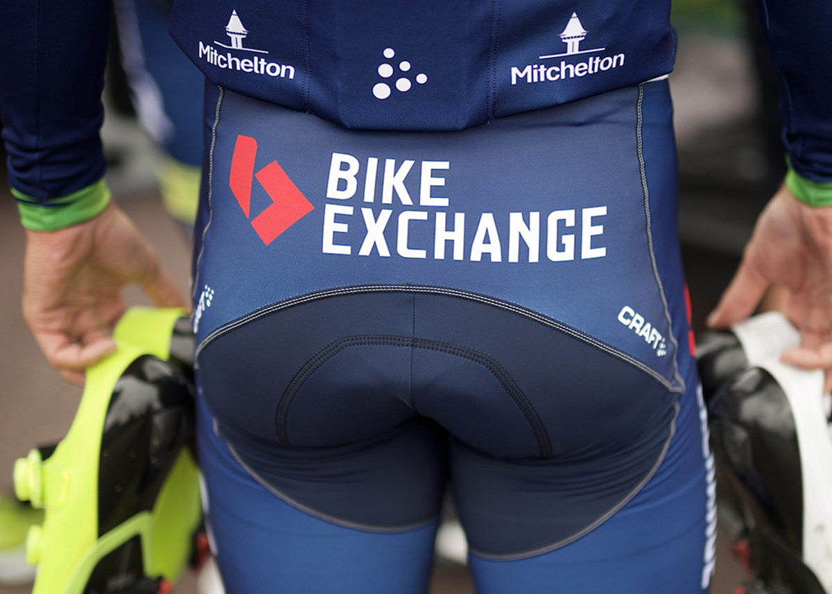 Bike Exchange - image of branding on bike riders kit for blog