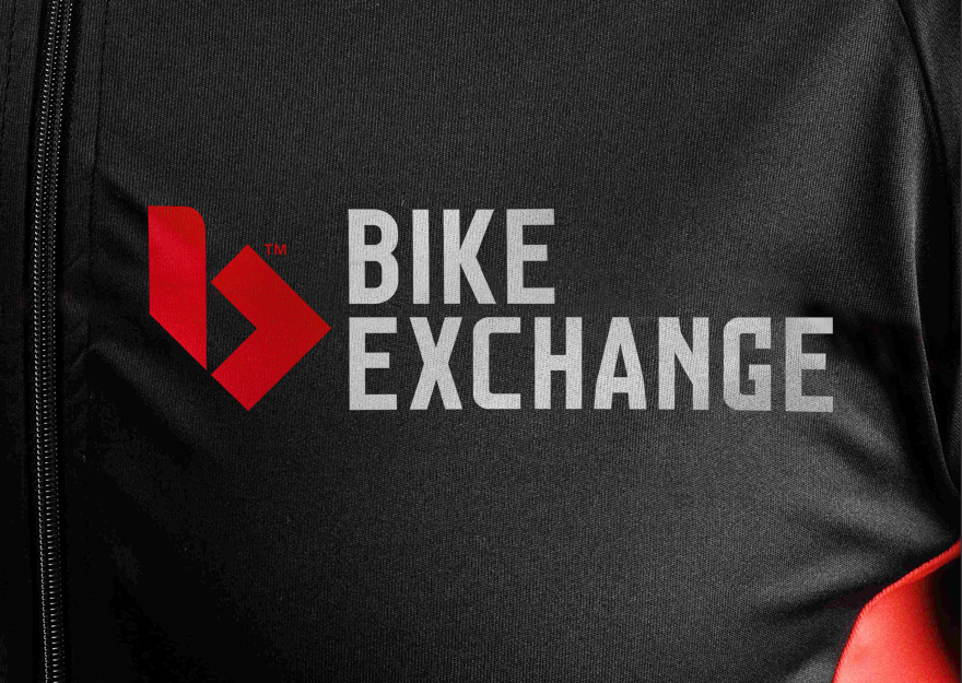 Bike Exchange - brand mark close up on cycling jersey