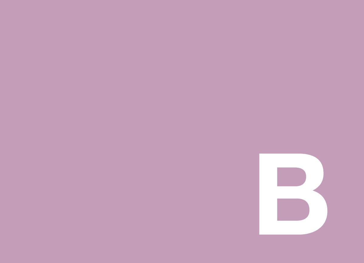 B on purple packground