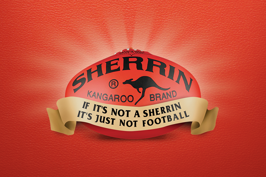 SHERRIN Advertising Campaign - Red Football on red background