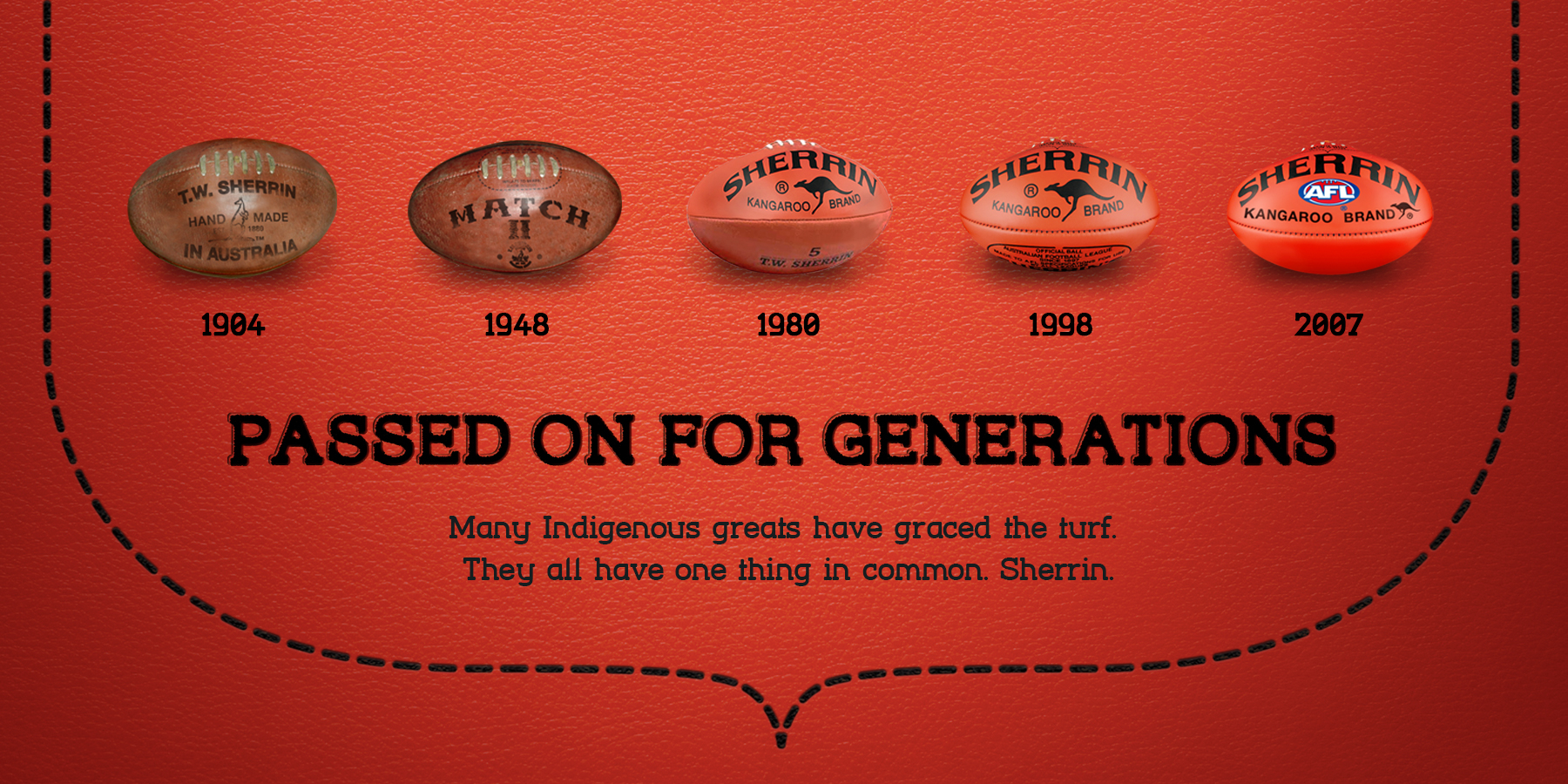 SHERRIN Advertising Campaign - 5 Red Footballs on red background