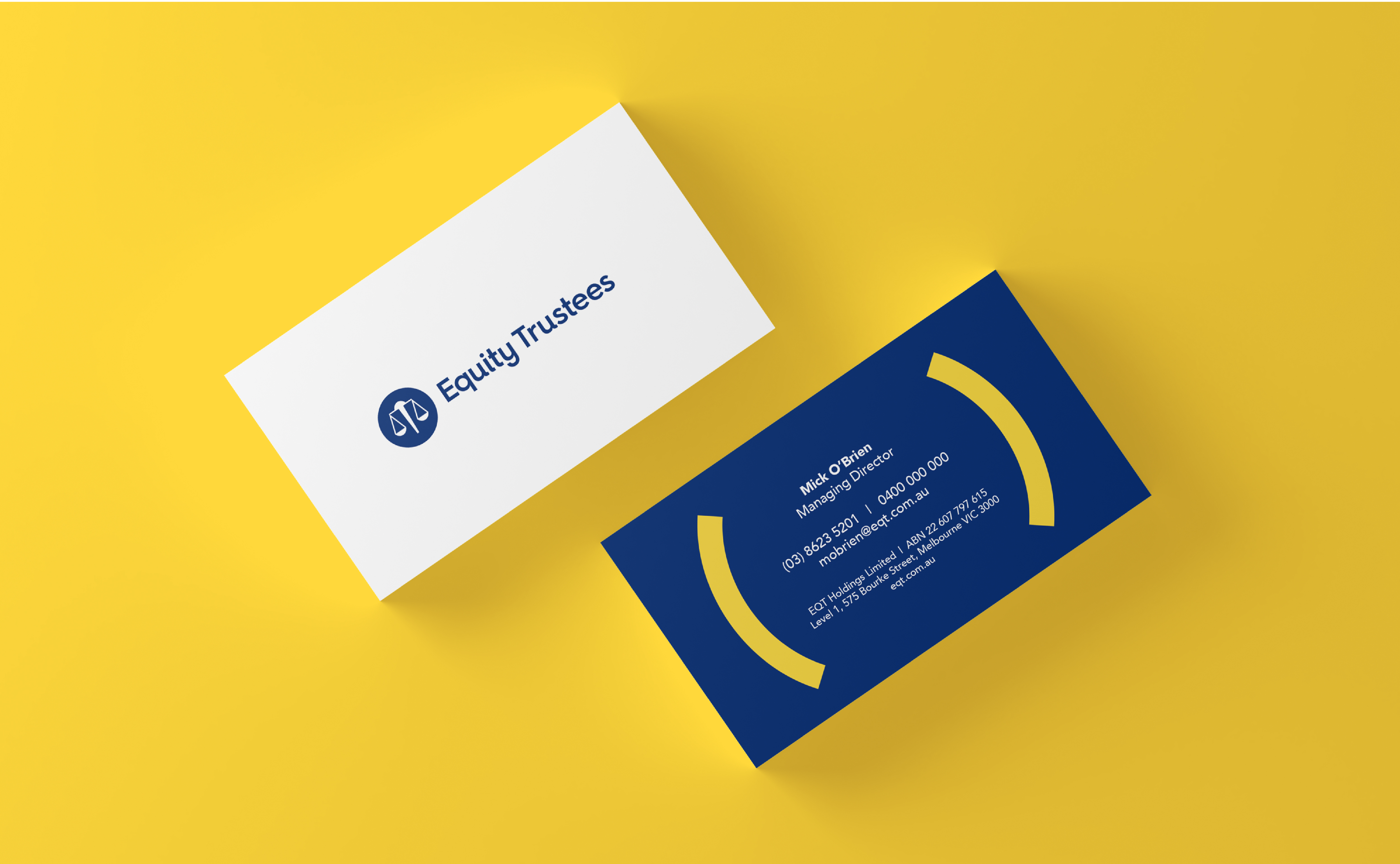 Equity Trustees - New Branding applied to business cards