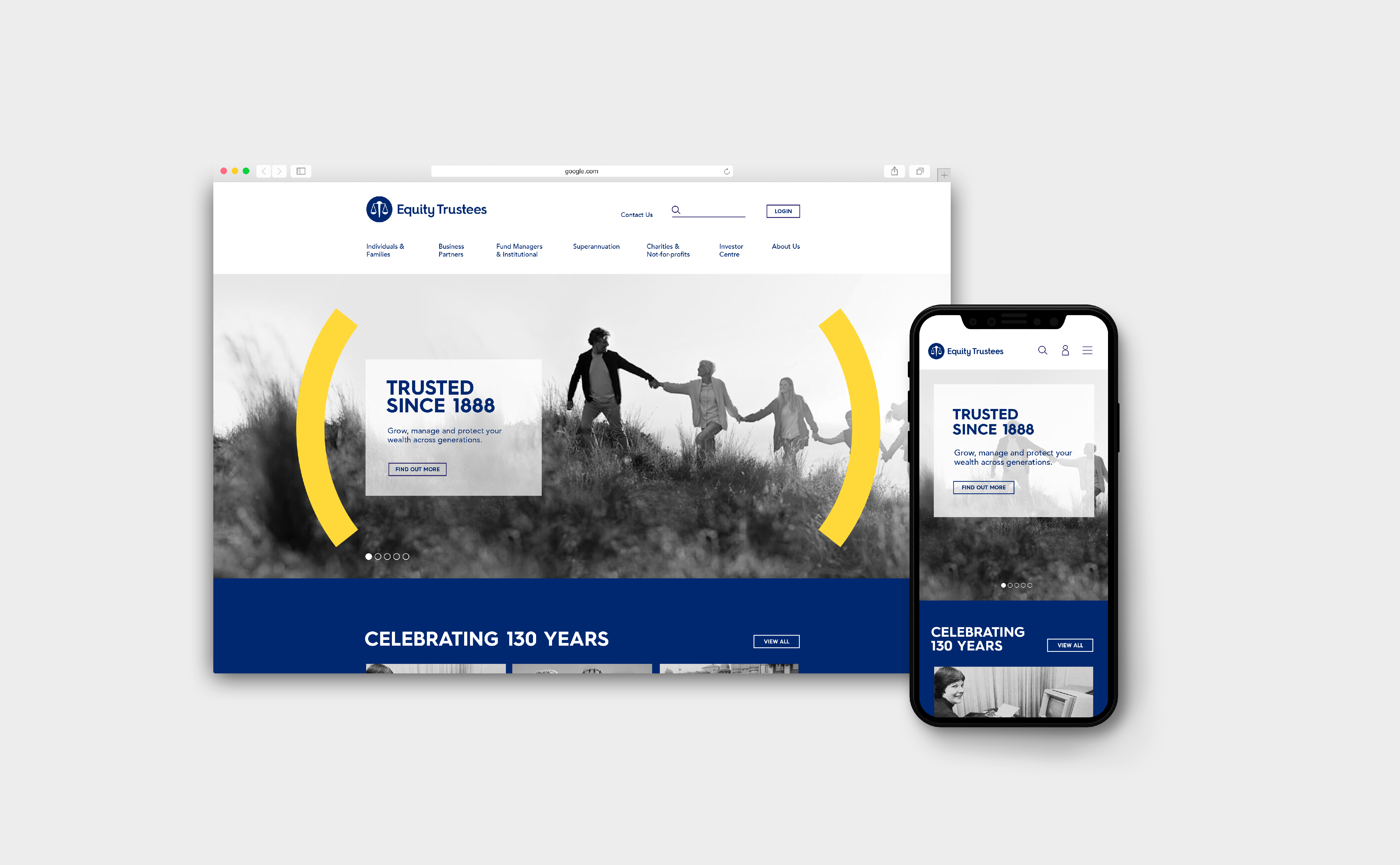 Equity Trustees - Desktop and mobile view of new branding applied to digital assets