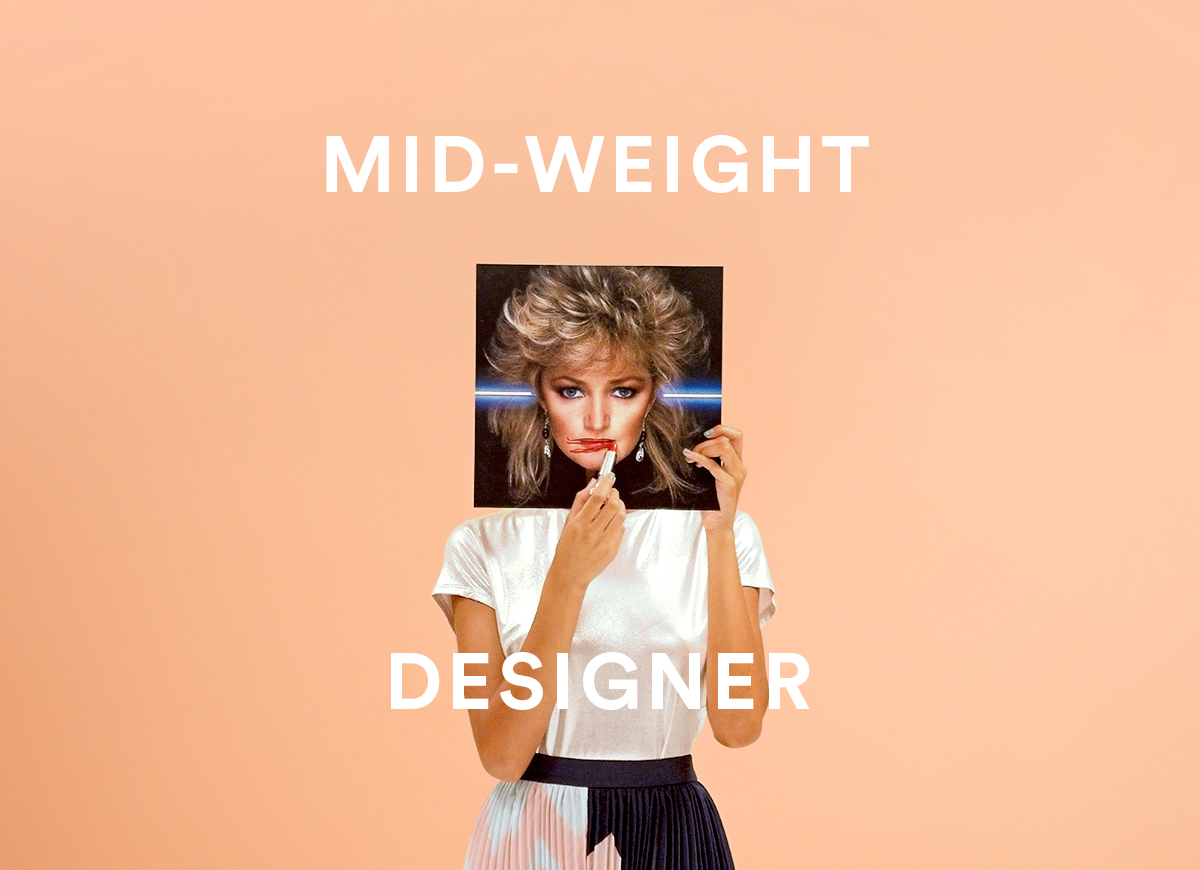 Woman holding Bonnie Tyler album cover in front of her face with the words Mid Weight Designer over the top