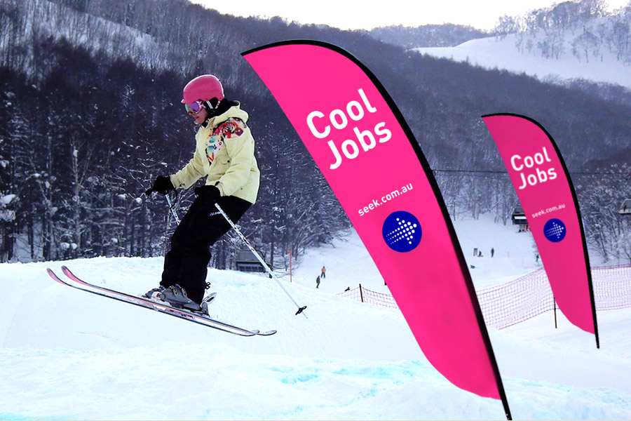 Seek advertising at the snow