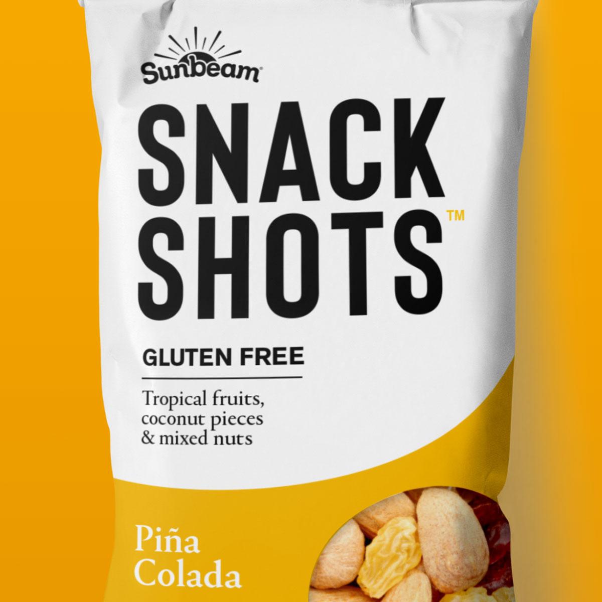 snack shots pina colada on yellow