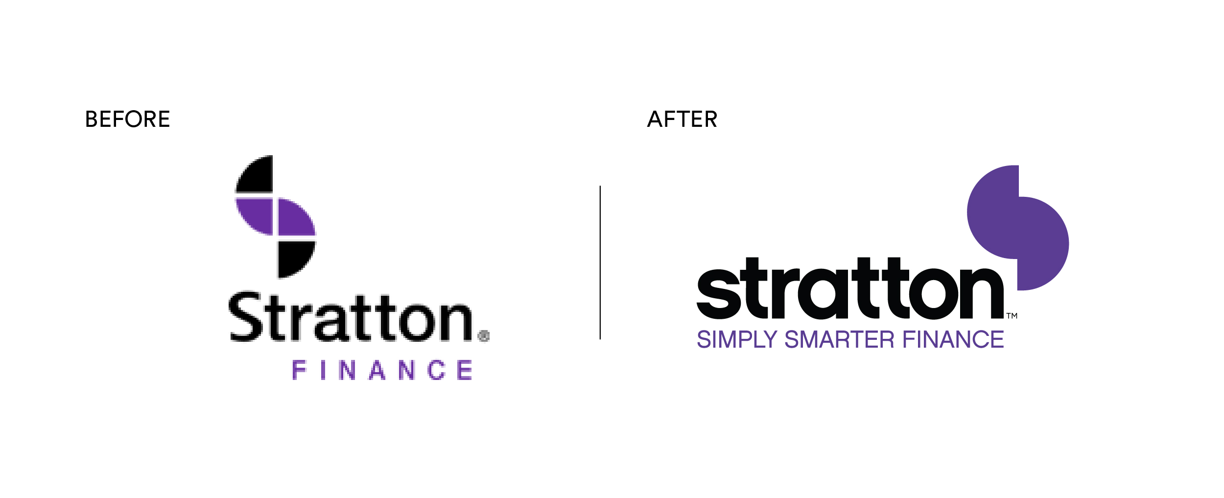 Stratton Car finance brand mark before and after brand refresh