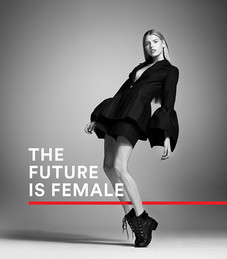 The future is female wittner branding girl in short boots on toes