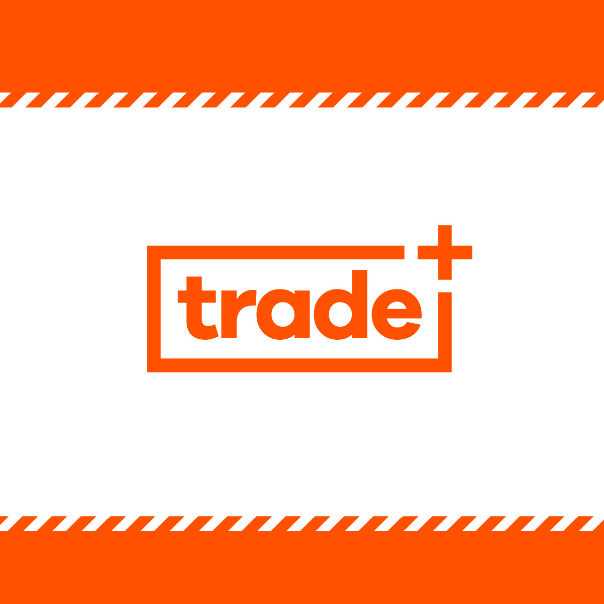 National Tiles Trade + Brand Identity Brand Mark with striped orange banners on white