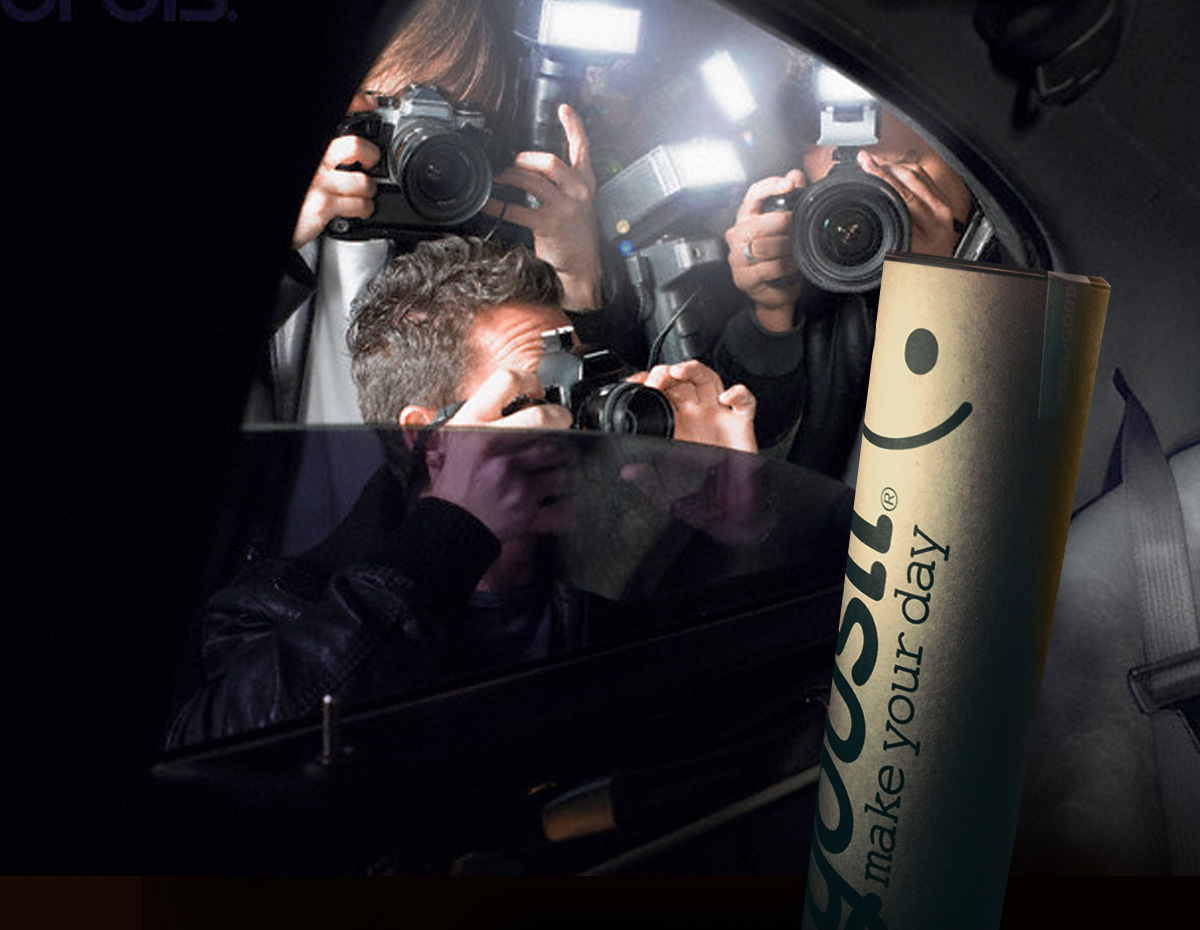 Yousli - Branding Agency image of packaging in car being shot by paps