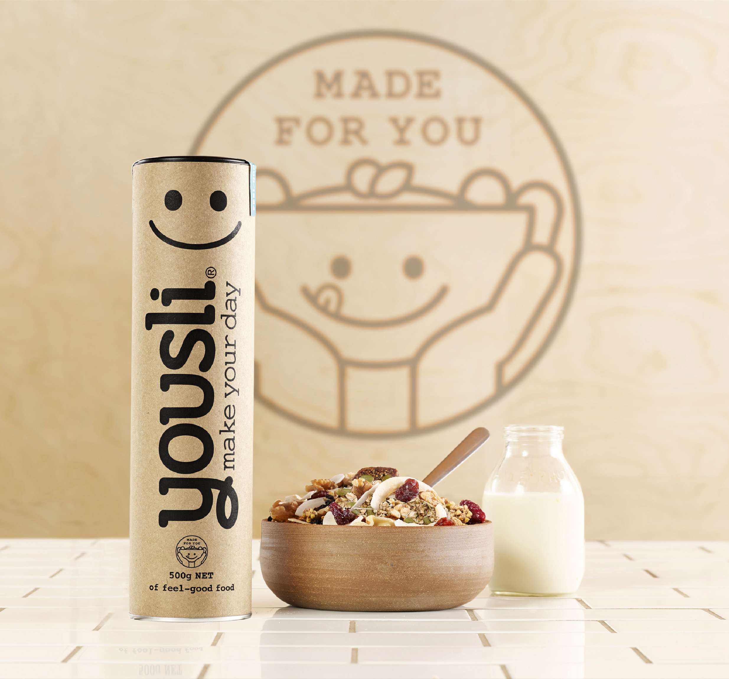 Yousli Brand Packaging Design on tiles and cereal bowl