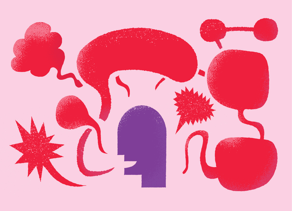 A walking talking brand, illustration of a head surrounded by speech bubbles