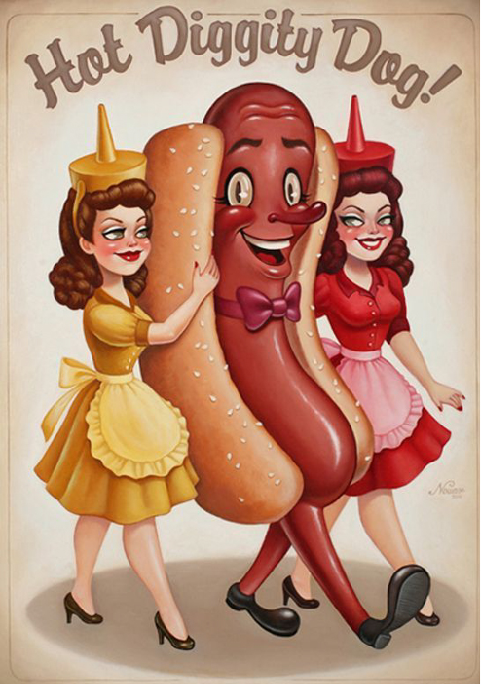 Retro illustration by nouar of a walking hot dog