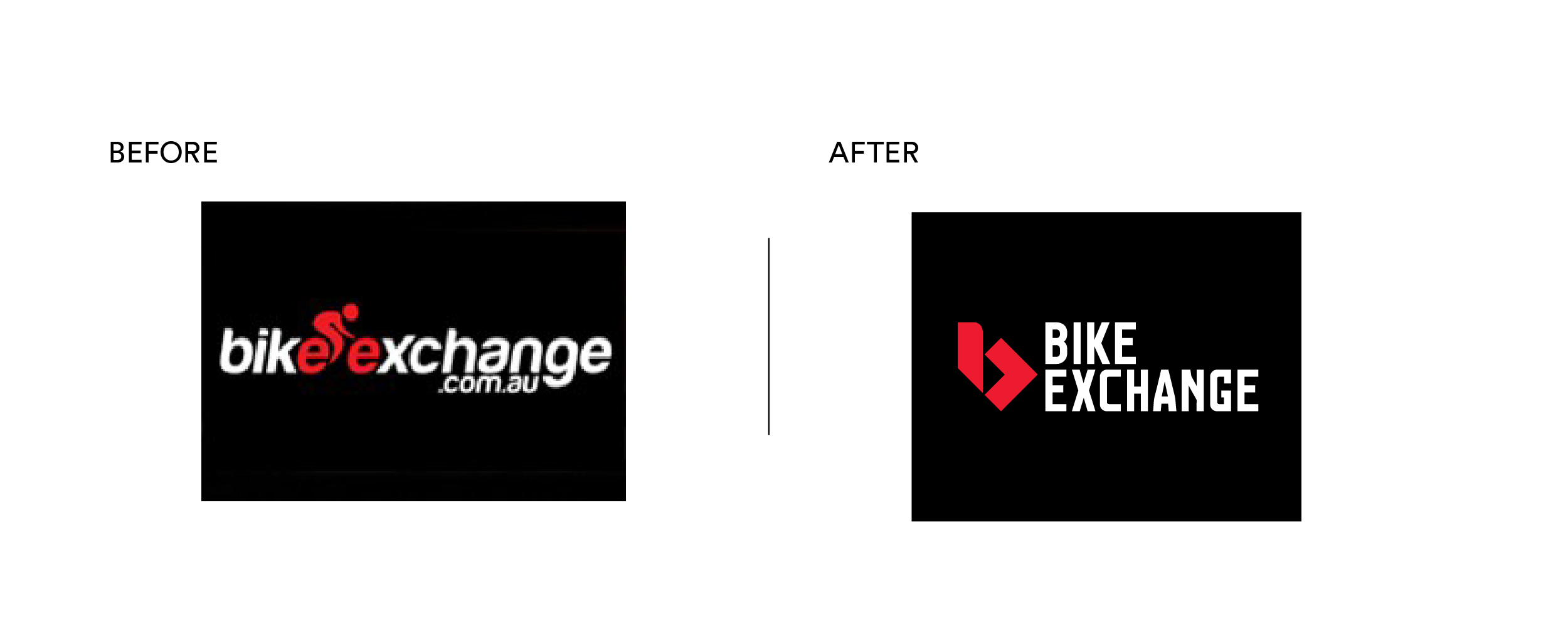 Bike Exchange Brand Mark before and after brand refresh