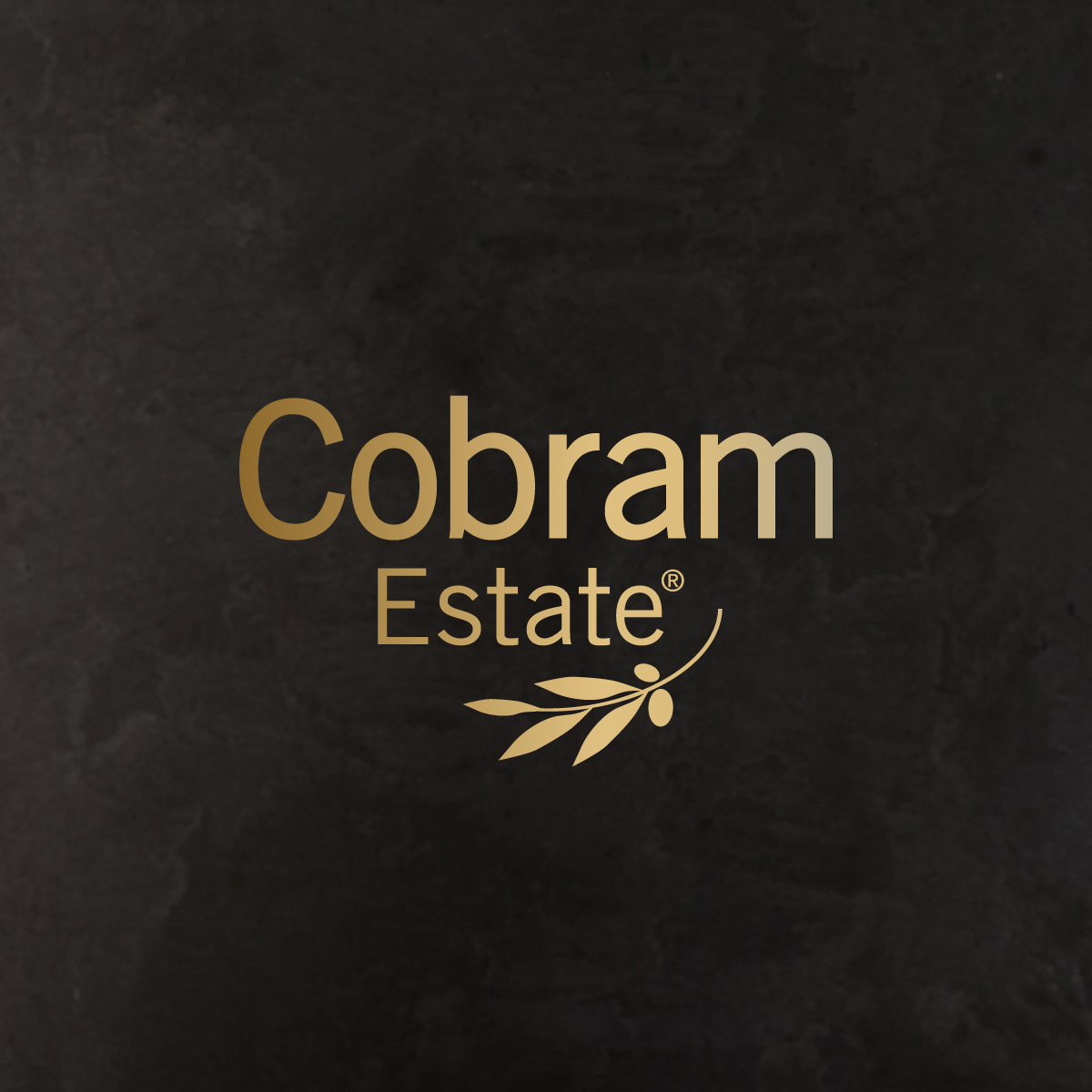 cobram estate brand mark black background