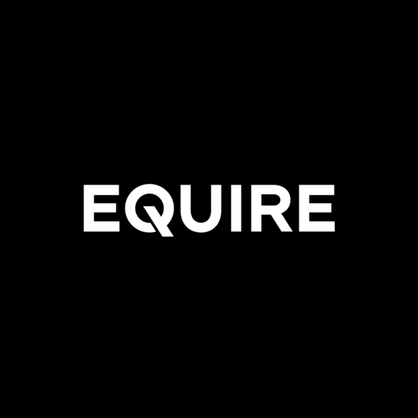 Equire Brand Identity Brand Mark mono logo on black background