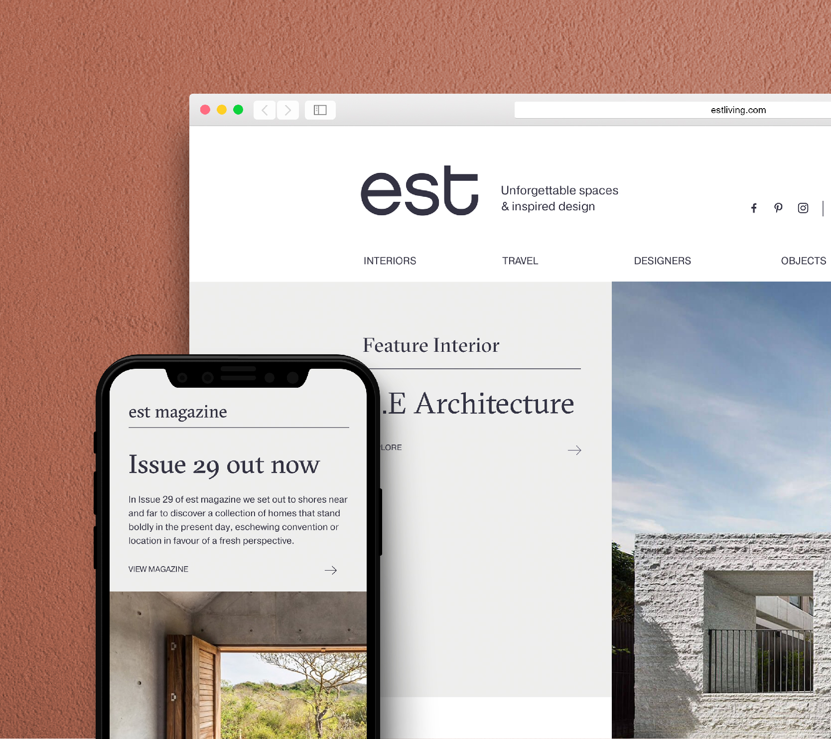 est website, desktop and mobile view