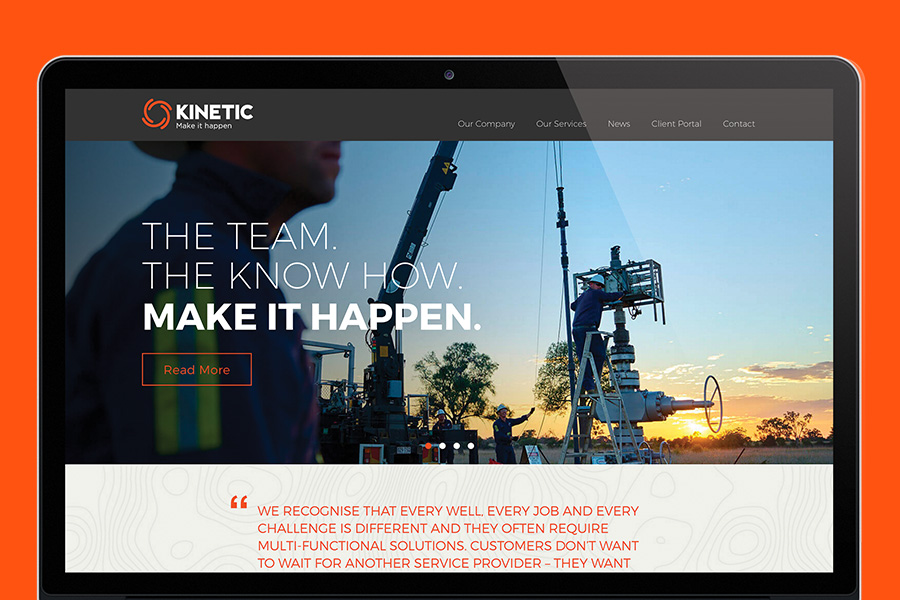 Kinetic Branding applied to website landing page