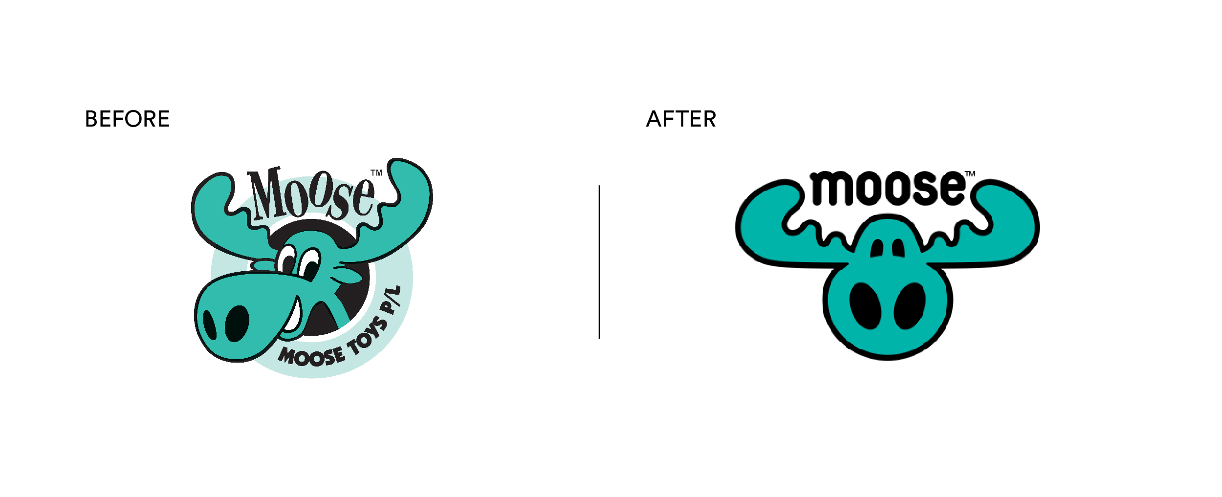 Moose Toys Brand Mark before and after brand rebrand