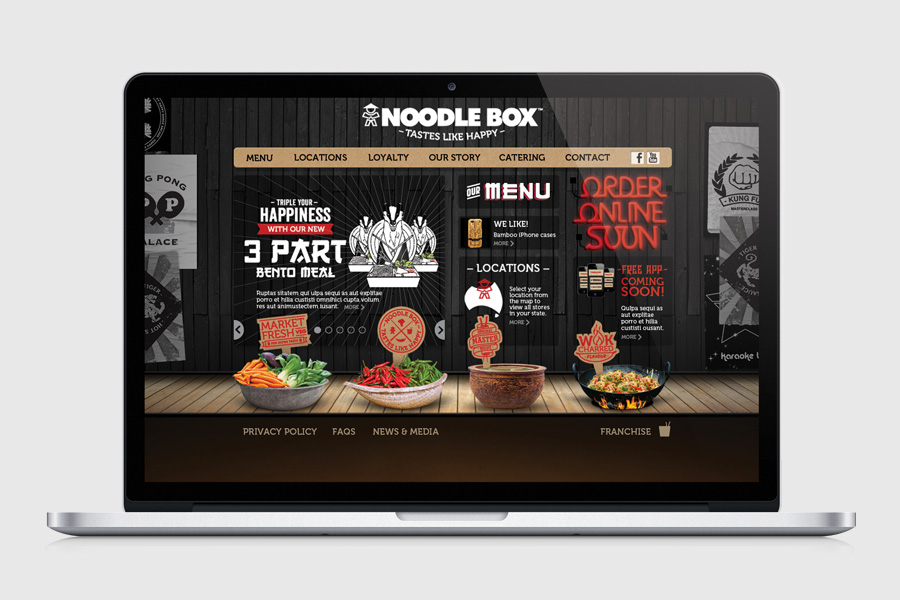 Noodle Box Website design by branding agency