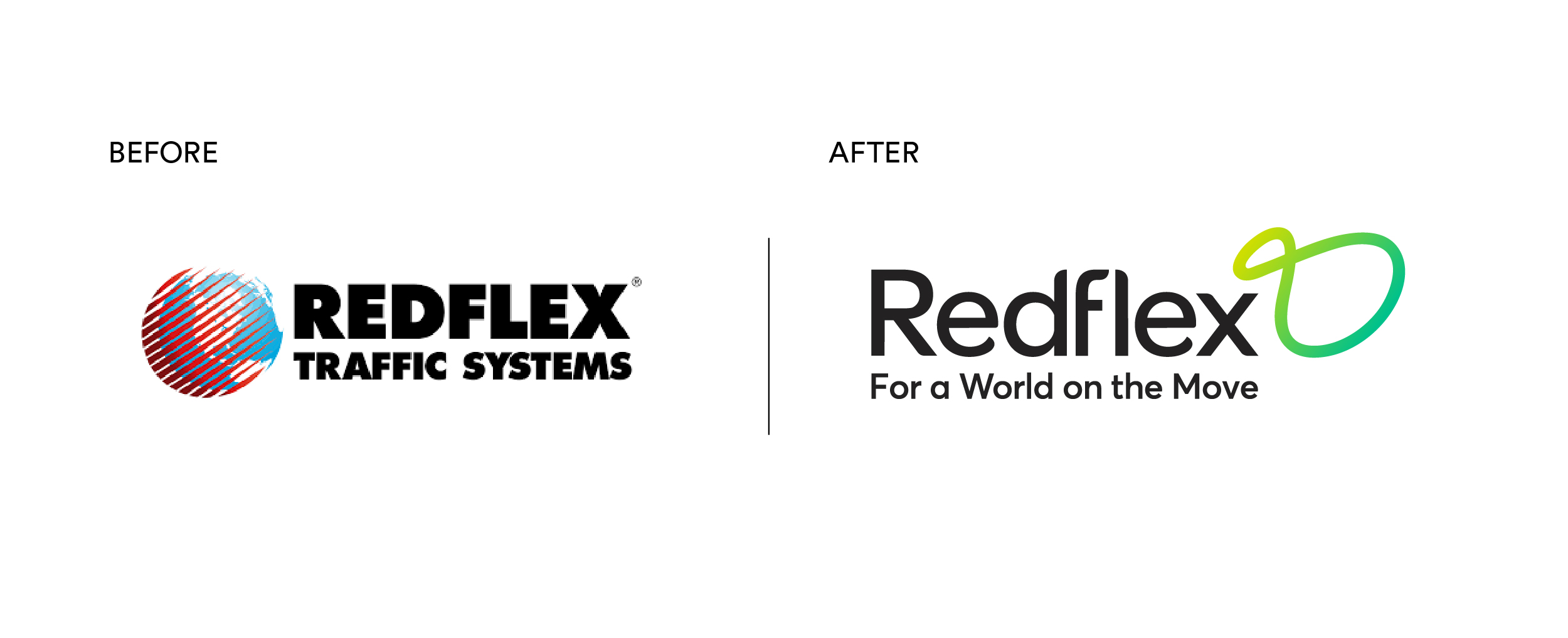 Redflex Brand Mark before and after Rebrand