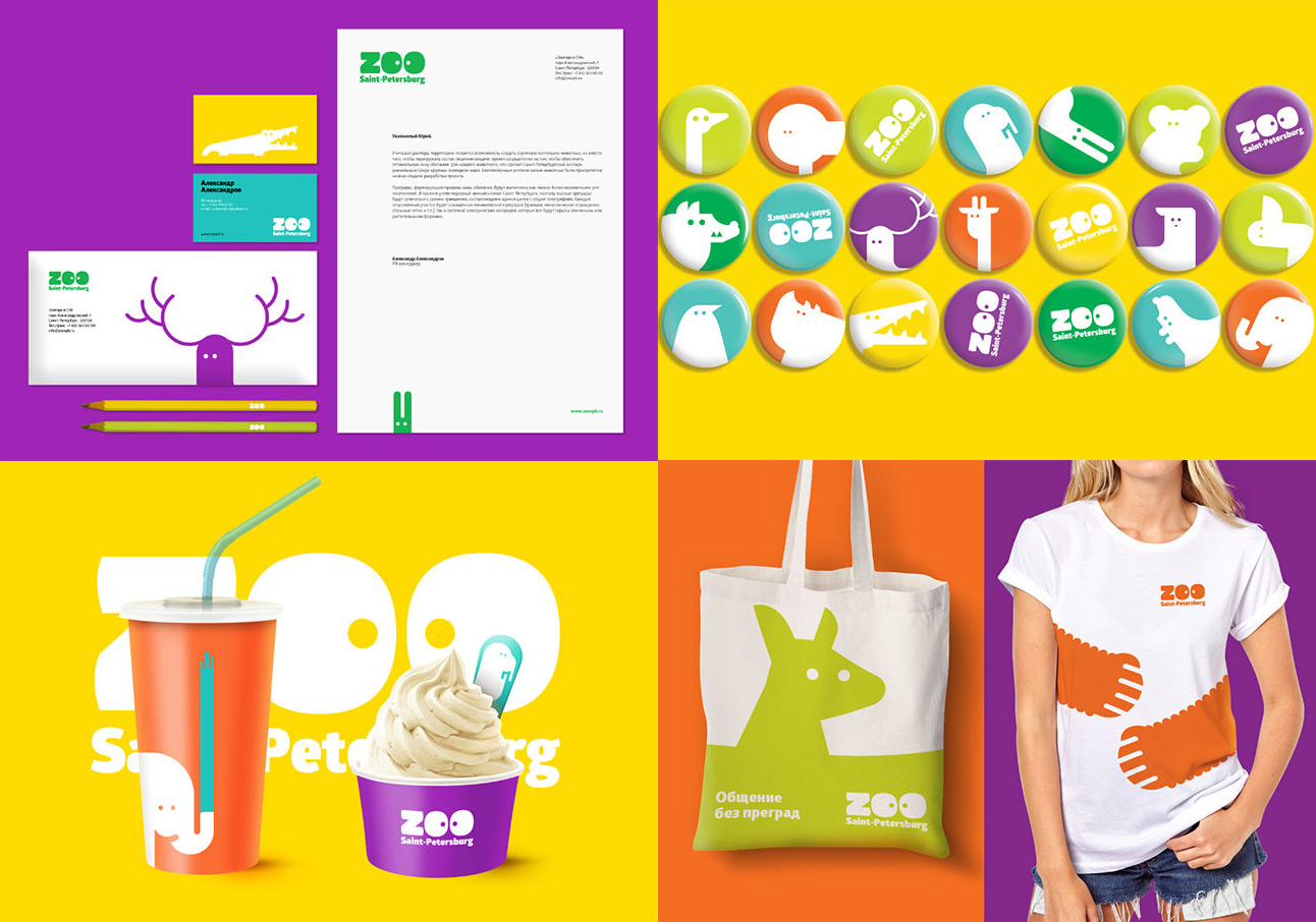 Branding and Logos - Saint Petersburg Zoo - Business Stationery, Badges, Food Cups, Clothing