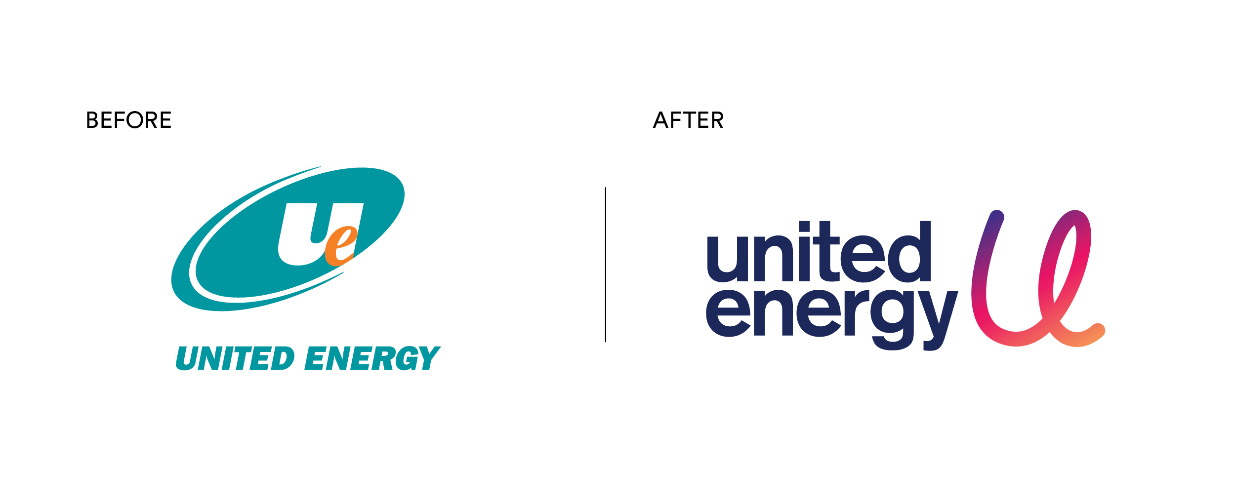 United Energy Brand Mark Before and After Brand Refresh