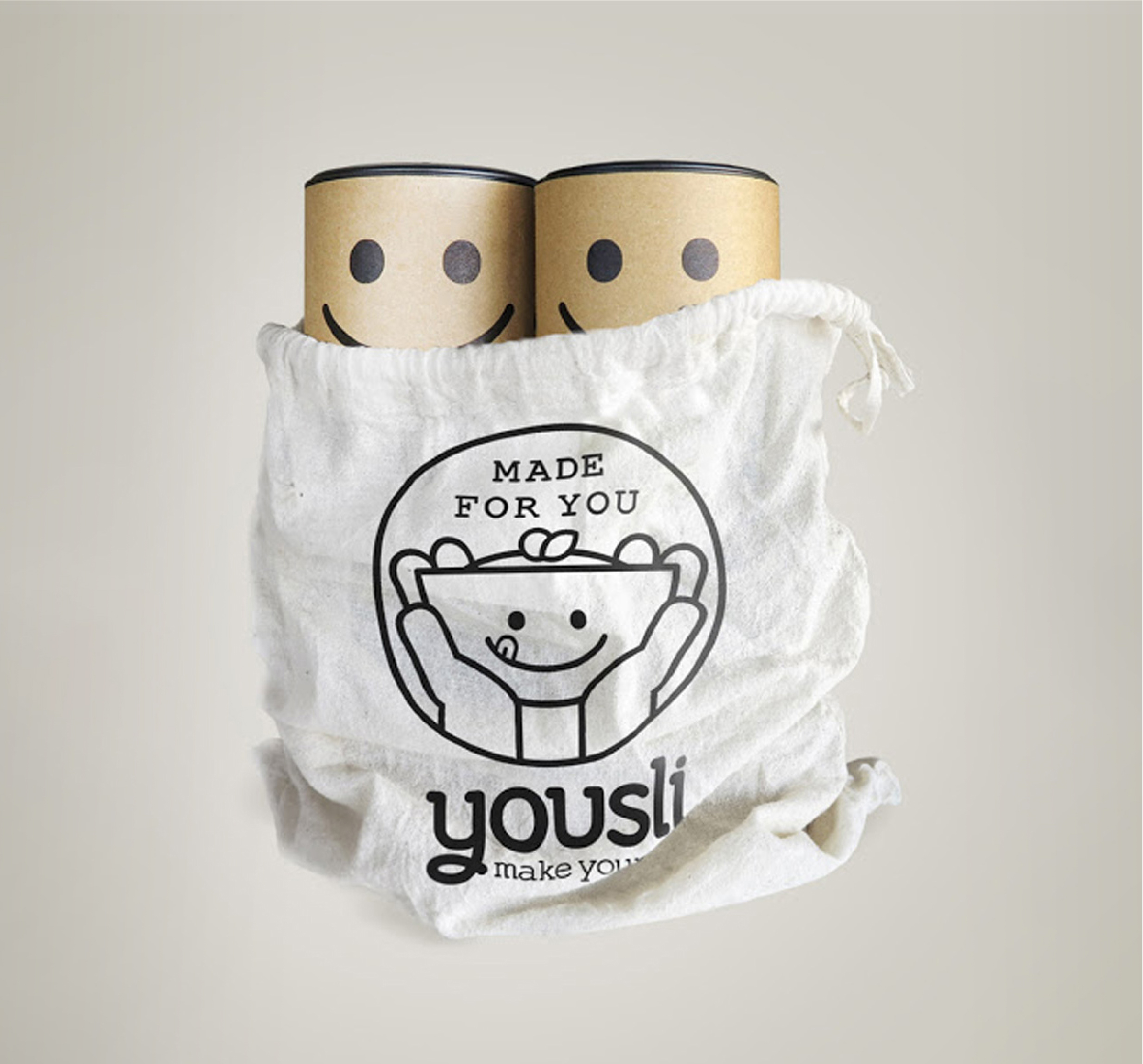 Yousli Brand Packaging Design two packs in canvas drawstring bag