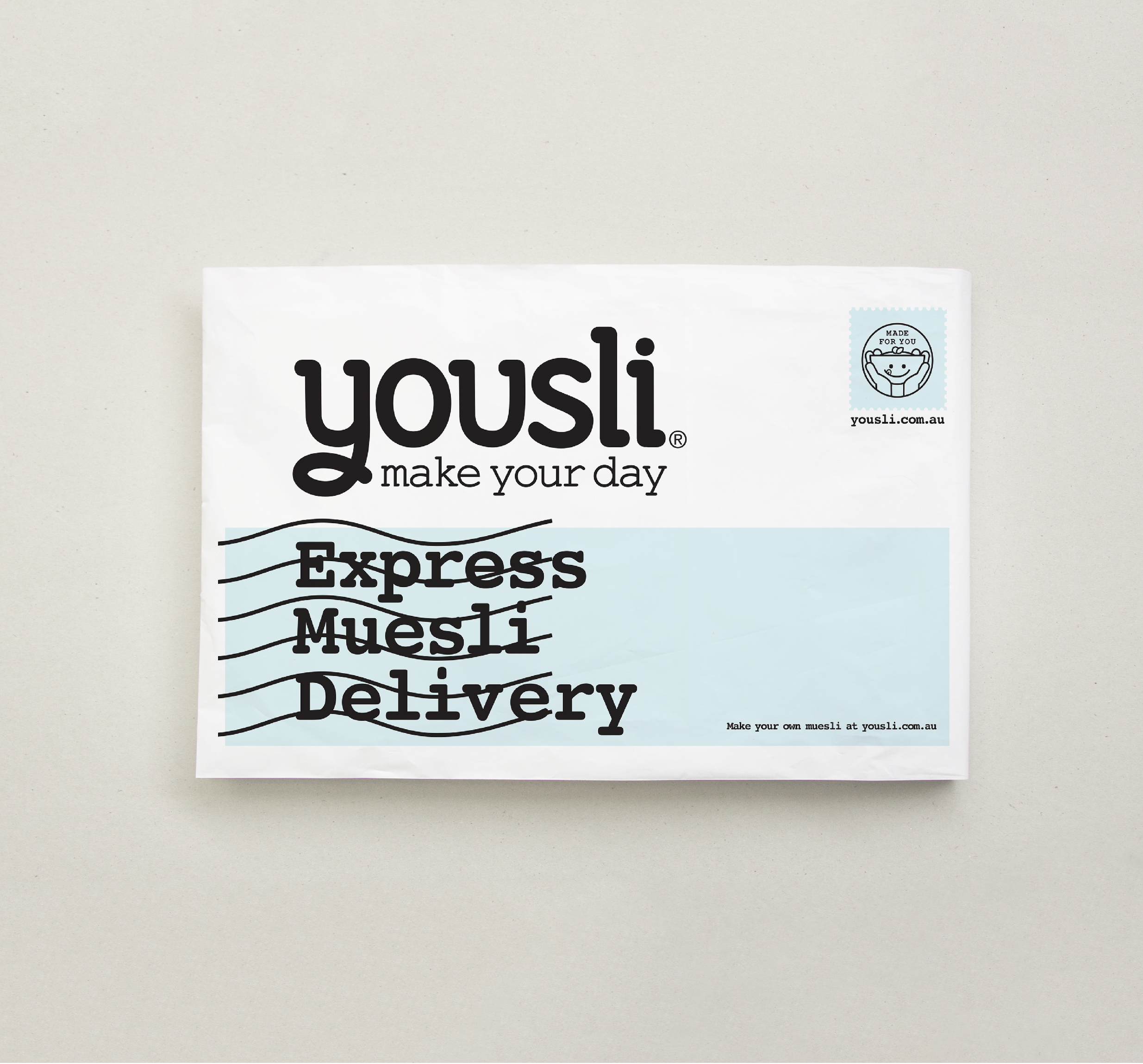Yousli brand Packaing Design satchel on grey background mockup